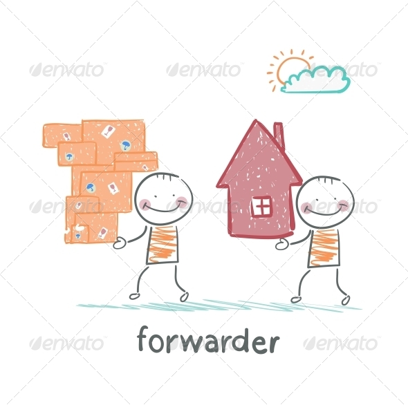 GraphicRiver Forwarder Carries a Boxes With Goods and a Home 5618893