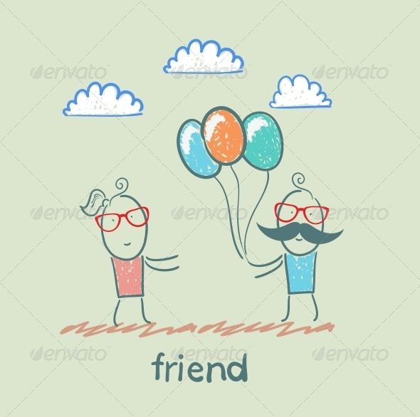 GraphicRiver Friend with Balloons 5618908