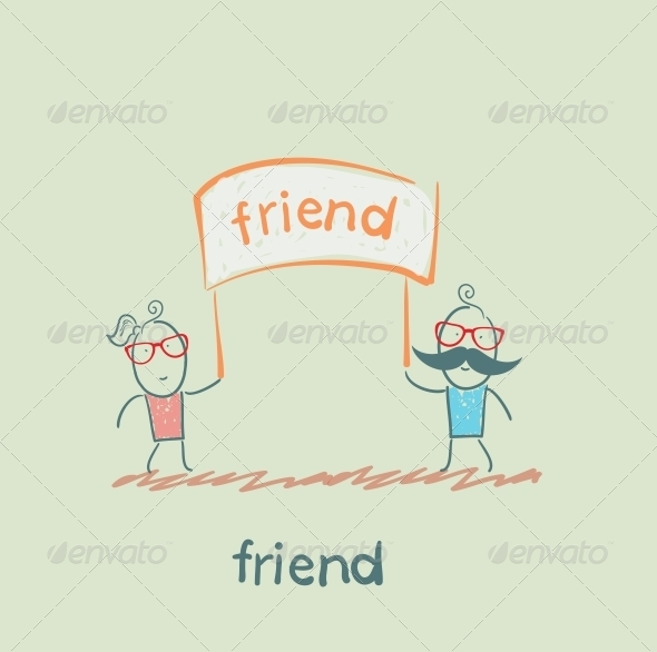 GraphicRiver Friends Holding Sign 5618926
