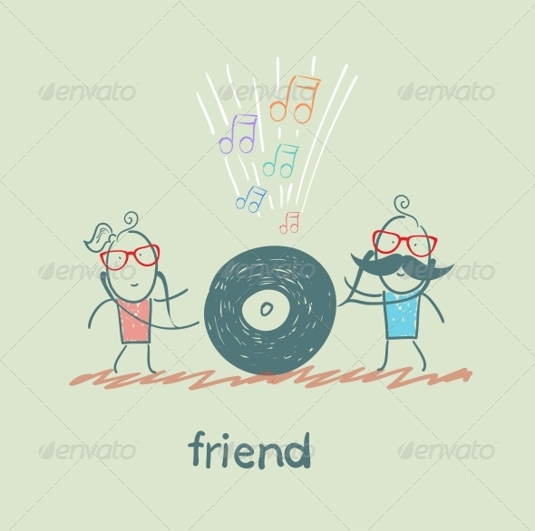 GraphicRiver Friends Listening to Music 5618928