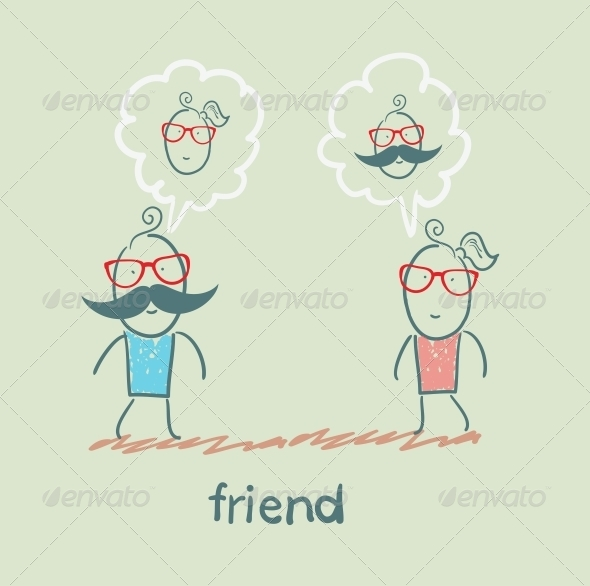GraphicRiver Friends Thinking of Each Other 5618938