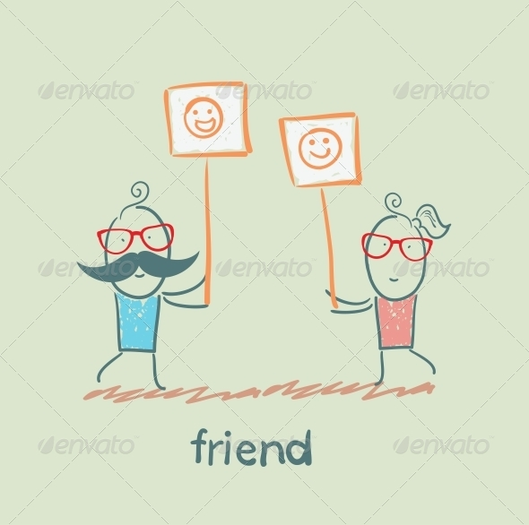 GraphicRiver Friends Holding Signs 5618941