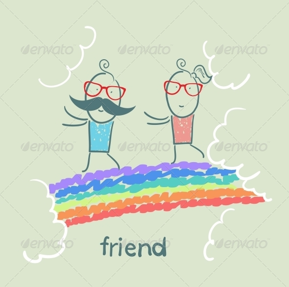GraphicRiver Friends on Rainbow 5618947