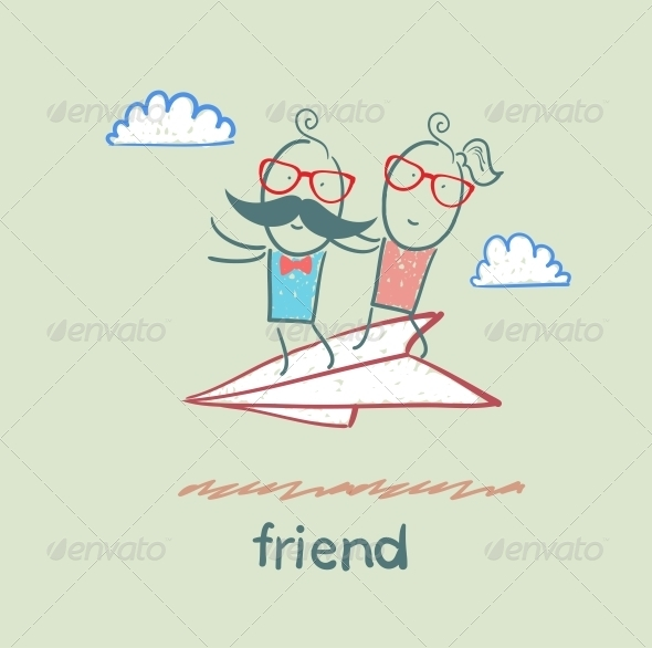 GraphicRiver Friends on Paper Airplane 5618975