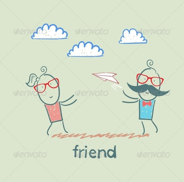 GraphicRiver Friends Throwing Paper Airplane 5618977