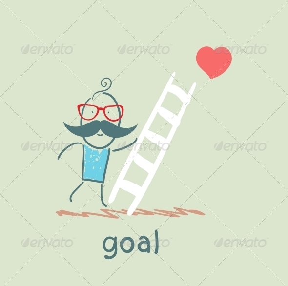 GraphicRiver Man Climbs the Stairs to the Goal 5619017