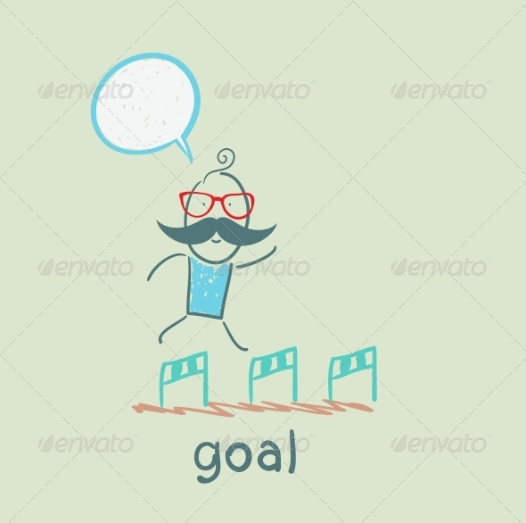 GraphicRiver Man Running with Obstacles to the Goal 5619018