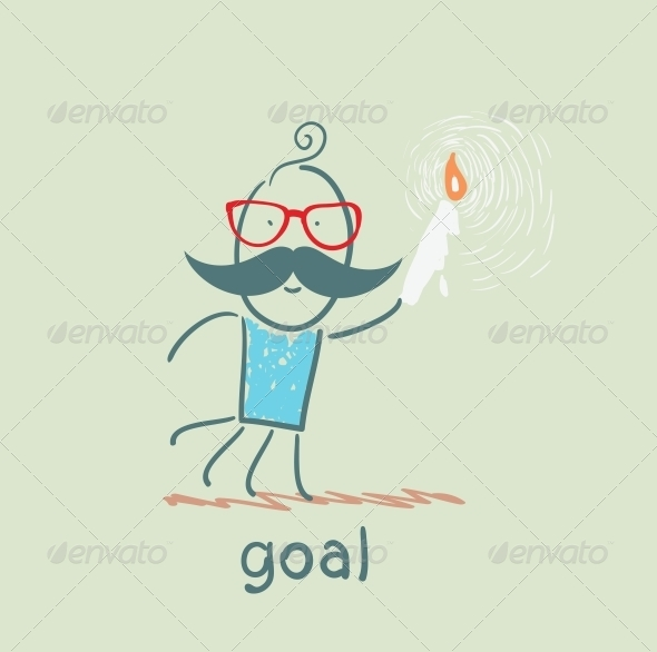 GraphicRiver Man Walks with a Candle to the Goal 5619022