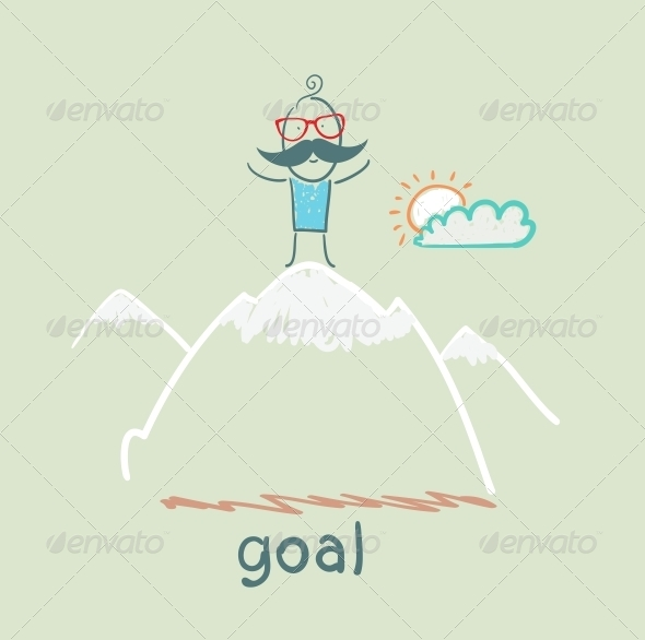 GraphicRiver Man Stands on Top of a Mountain 5619024