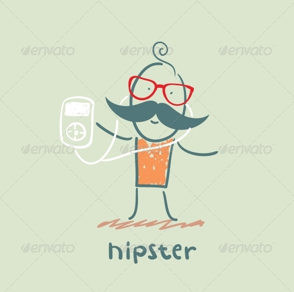 GraphicRiver Hipster Listening to Music Player 5619163
