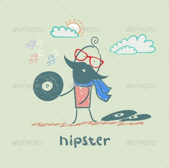 GraphicRiver Hipster with Vinyl Records 5619177