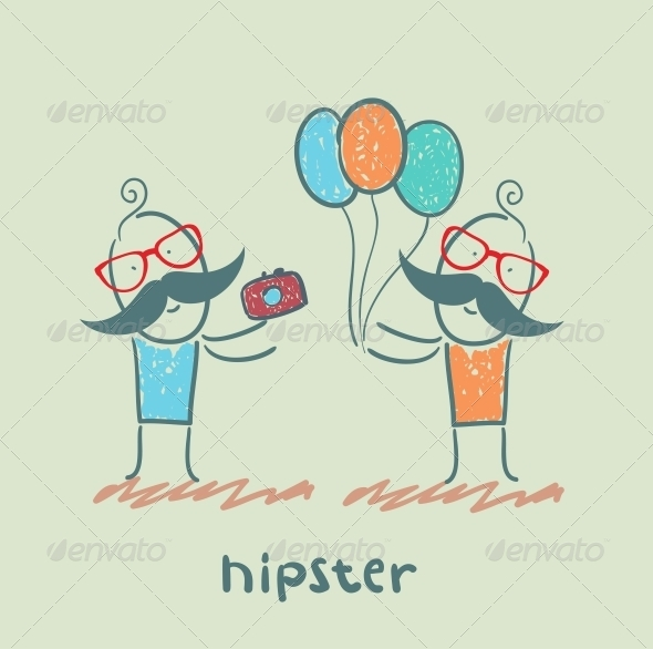 GraphicRiver Hipster with Balloons and Camera 5619183