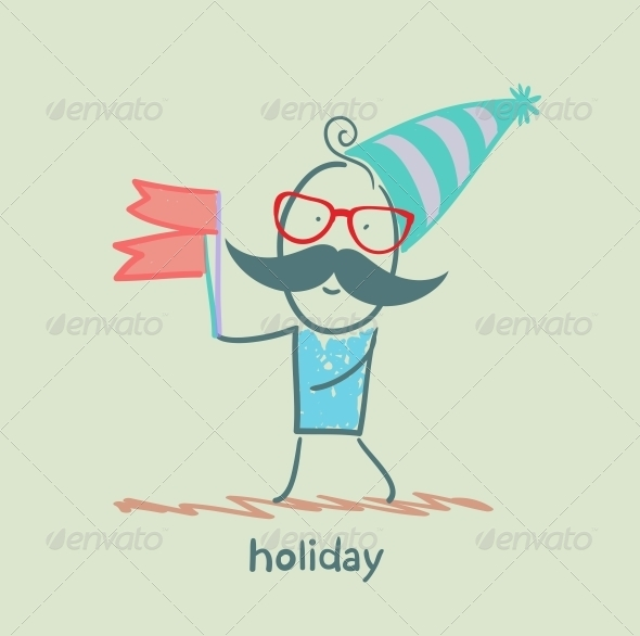 Holiday Person with Flags