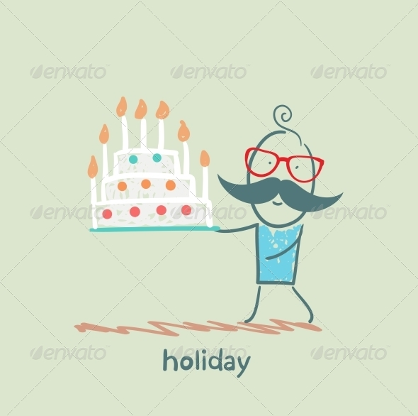 GraphicRiver Holiday at the Person with Cake 5619219