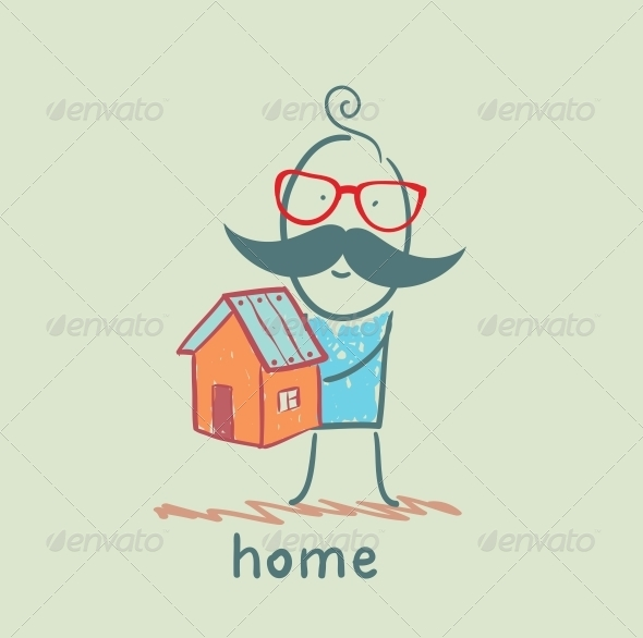 GraphicRiver Man Holding a House 5619228