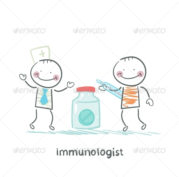 GraphicRiver Immunologist Giving Pills to a Patient with Thermometer 5619478