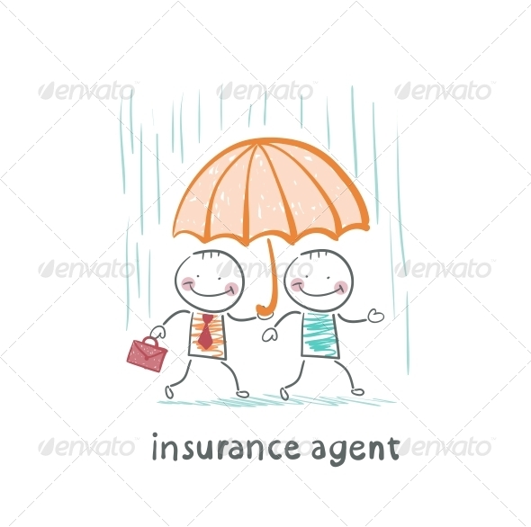 GraphicRiver Insurance Agent Protects a Person from the Rain 5619551