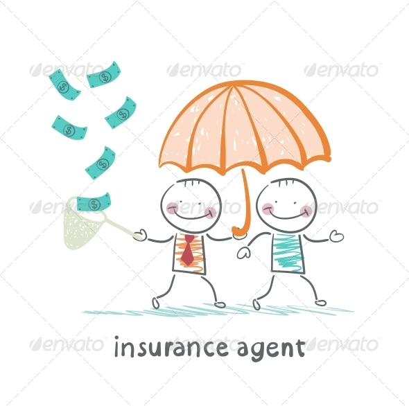 Insurance Agent Protects Human Umbrella