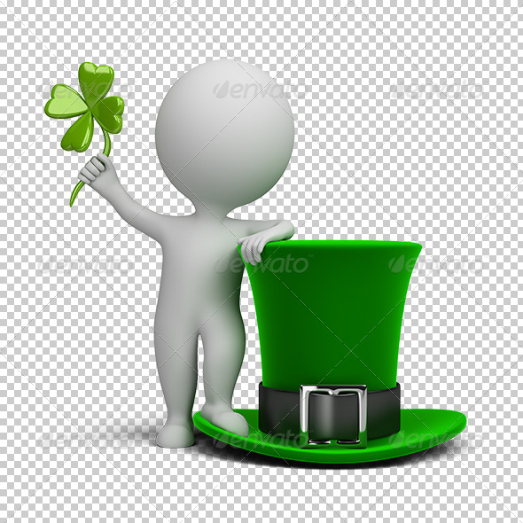 GraphicRiver 3D Small People Hat of Saint Patrick 5619556