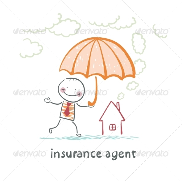 GraphicRiver Insurance Agent is Holding an Umbrella 5619557