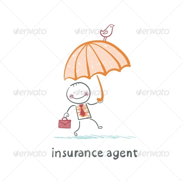 GraphicRiver Insurance agent with Umbrella 5619567