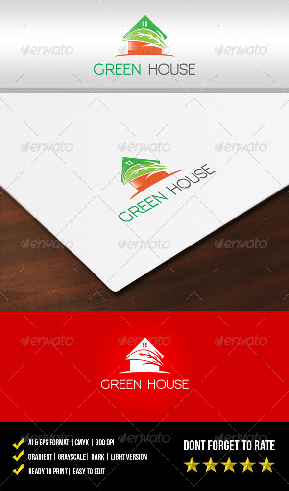 GraphicRiver Green House Logo 5619582