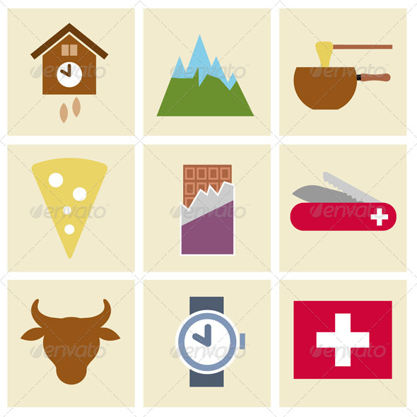 GraphicRiver Vector Icon Set with Swiss Theme 5566263