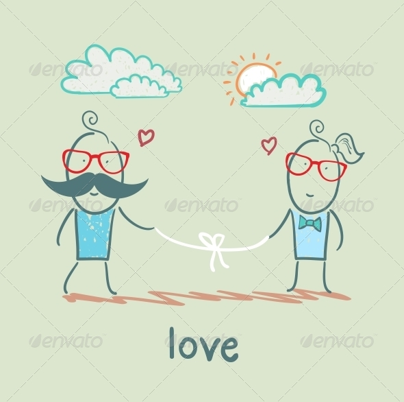 GraphicRiver Loving Girl and the Guy Holding the Thread 5619734