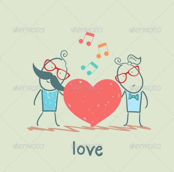 GraphicRiver Girl and Guy Listening to the Melody of the Heart 5619735