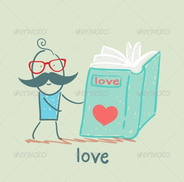 GraphicRiver Man Reading a Book about Love 5619783