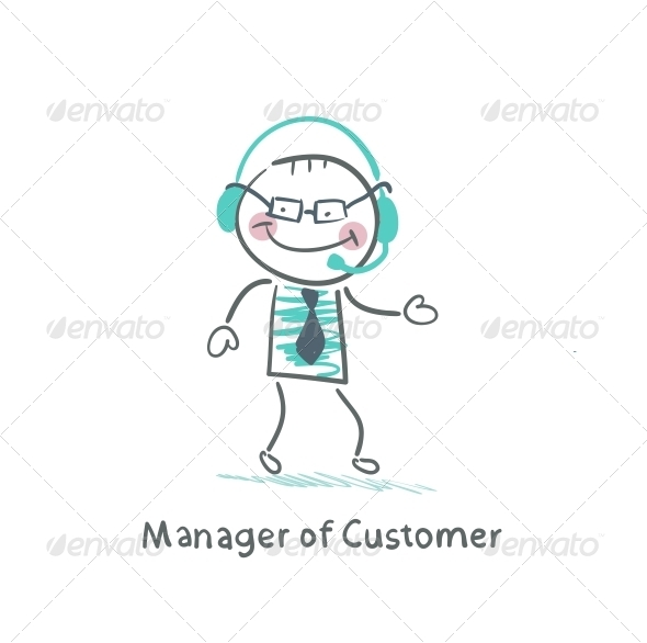 Manager Customer Manager with to Headphones
