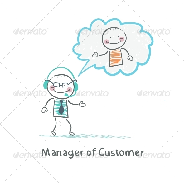 Manager of Customer talking on Headphones
