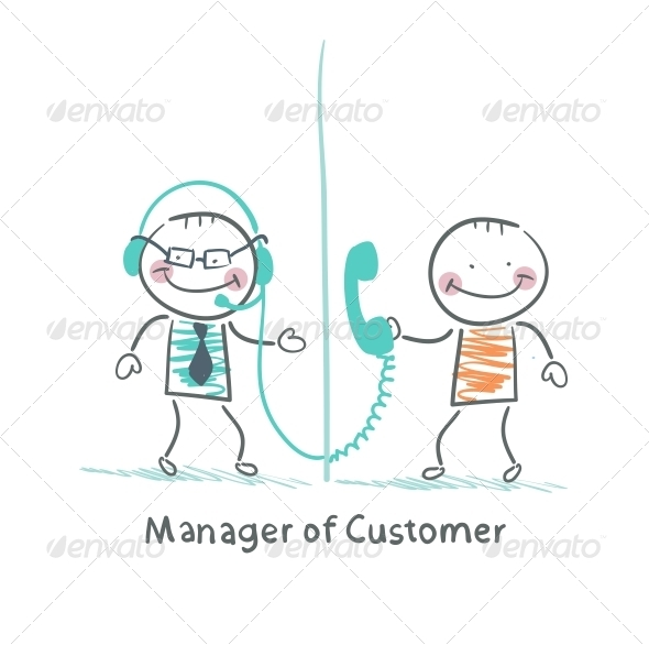 GraphicRiver Manager of Customer Talking on Headphones 5619832