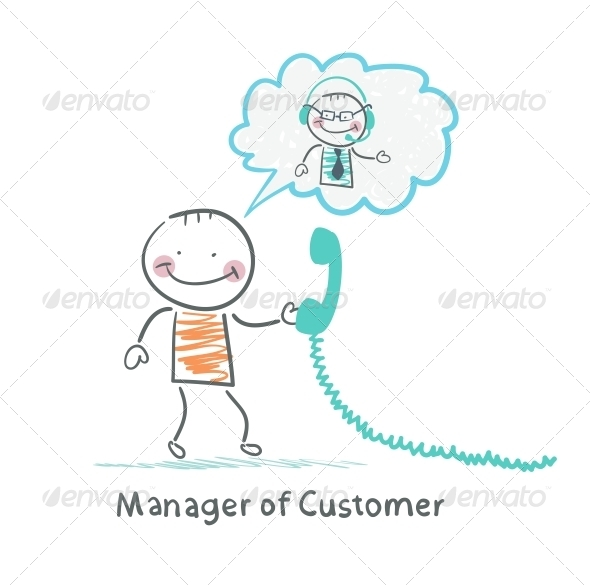 GraphicRiver Manager of Customer Talking on Headphones 5619833