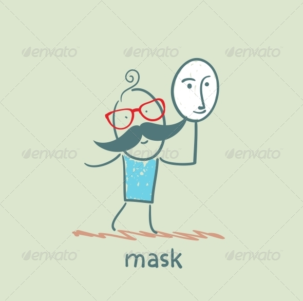 GraphicRiver Man Holding a Mask 5619838