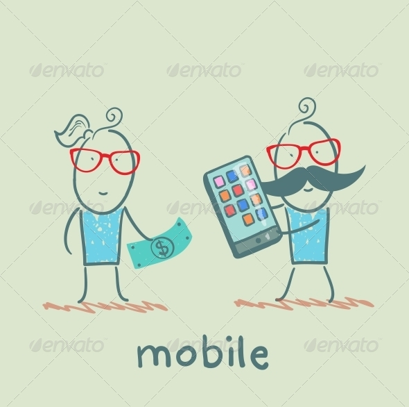 GraphicRiver People Selling Mobile Girl 5619857
