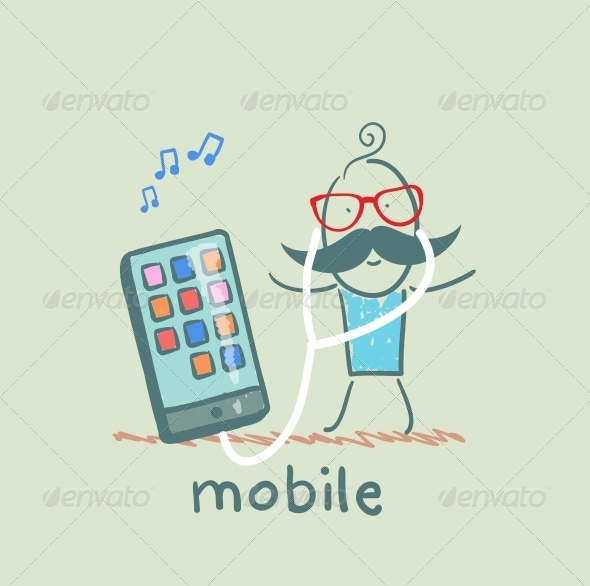 GraphicRiver Man Listening to Music on Device 5619899