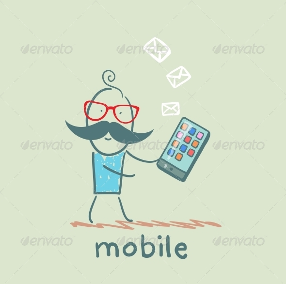 GraphicRiver Person Receives a Message on Mobile 5619901