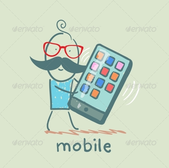 GraphicRiver Man Holding a Mobile That Rings 5619905