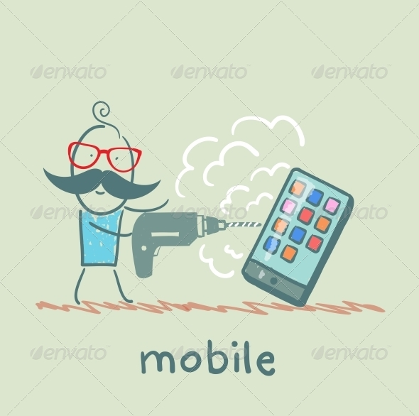 GraphicRiver Man Drilling His Mobile 5619906