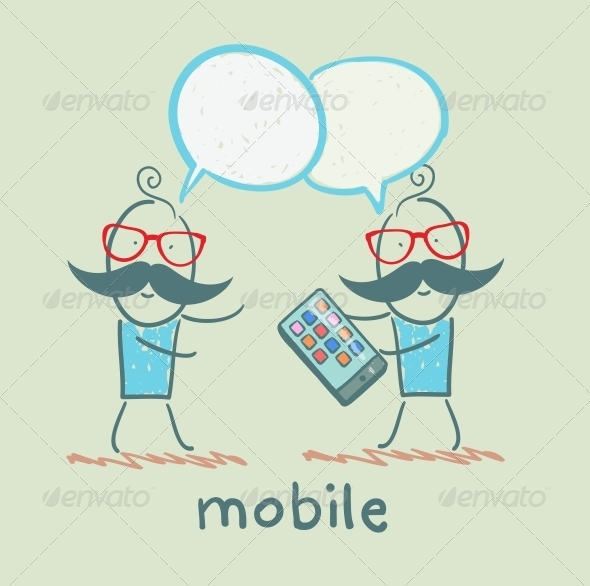 GraphicRiver People Talking About Mobile 5619909