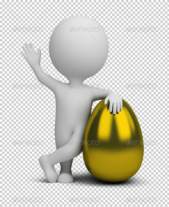 3D Small People Golden Egg