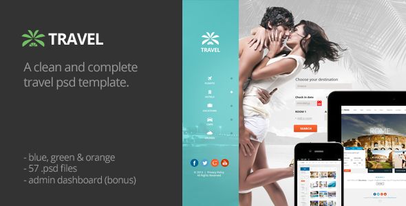 ThemeForest Travel Agency Multipurpose Booking PSD Template 5620213