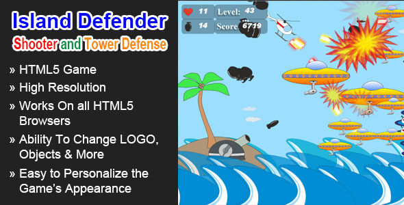 CodeCanyon Island Defender HTML5 Game 5620657
