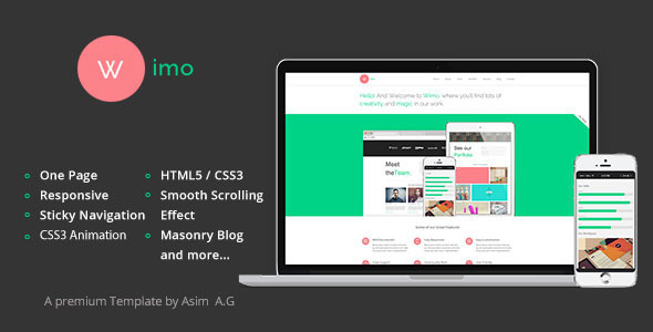 ThemeForest Wimo One Page Responsive HTML Template 5622025