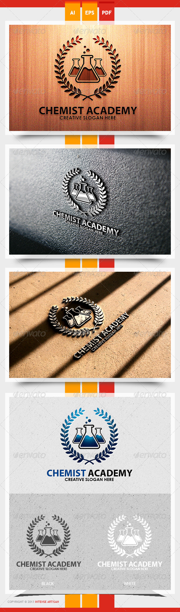GraphicRiver Chemist Academy Logo Template 5622296
