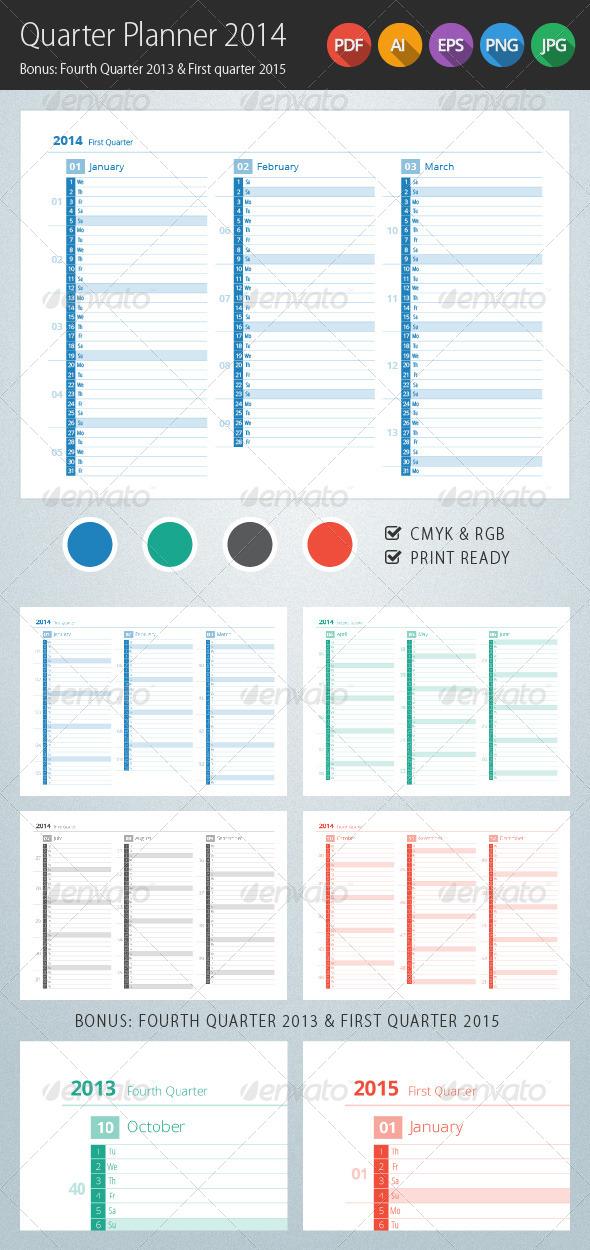 GraphicRiver Quarter Planner 2014 Calendar 5622475