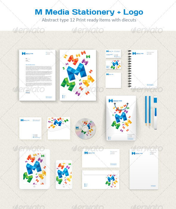 GraphicRiver M Media Stationery & Logo 5622523