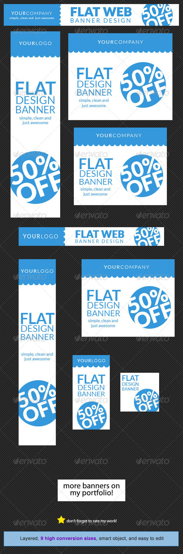 GraphicRiver Flat Web Banner Design Template 5622538