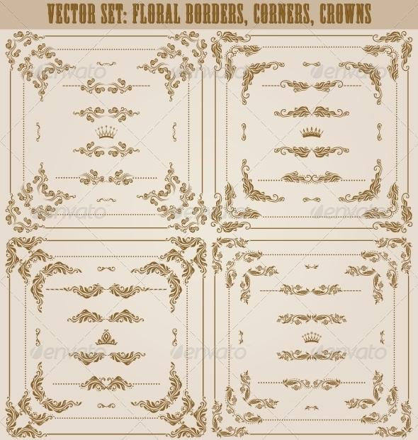 GraphicRiver Vector Set of Gold Decorative Borders 5622600